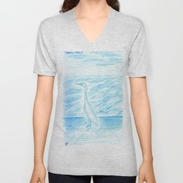Egret, Treasure Island Unisex V-Neck