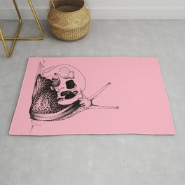 This Skull Is My Home (Snail & Skull) - Blush Pink & Charcoal Black Rug