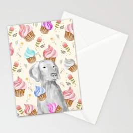 CUPCAKES AND WEIMARANER Stationery Cards