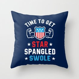 Time To Get Star Spangled Swole Throw Pillow