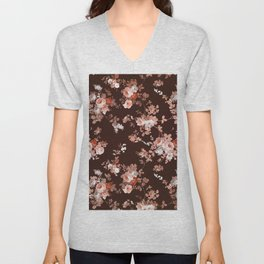 Modern burgundy rose gold coral glitter floral Unisex V-Neck