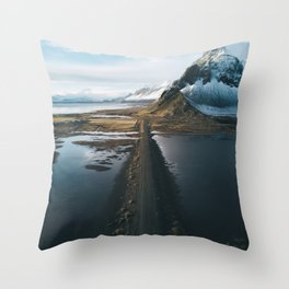 Mountain road in Iceland - Landscape Photography Throw Pillow