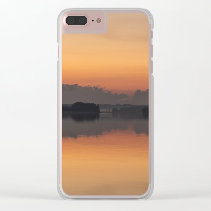 Sunset colors and reflection on the lake surface - magical atmosphere in Scandinavian night Clear iPhone Case