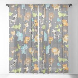 Jungle Animals Sheer Curtain