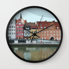 Gdansk Riverside Architecture - City View Wall Clock