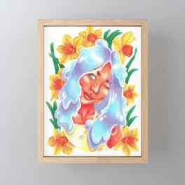 Slime Girl with Daffodils Framed Mini Art Print