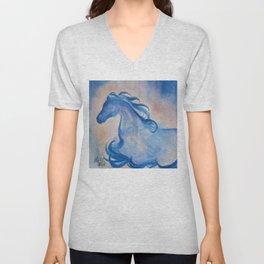 Azure Arabian Horse Profile Unisex V-Neck
