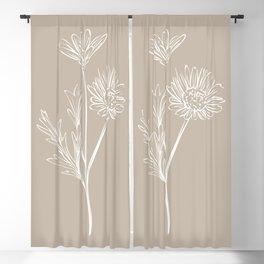6-2016-2, Light & Dark Beige, Floral Botanical Flower art, Plant Leaves, Boho decor, Blackout Curtain