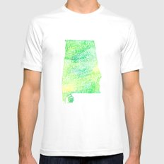Typographic Alabama - Green Watercolor map art White MEDIUM Mens Fitted Tee