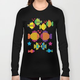 Stylize fantasy color fishes under sea water in love Long Sleeve T-shirt