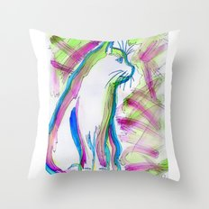 Cat of Color Throw Pillow