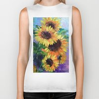 sunflowers Biker Tanks featuring Sunflowers by OLHADARCHUK