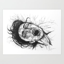 Moan black&white - Erotic Art Illustration Orgasm Sex Sexual Love Pleasure Climax Woman Face Art Print