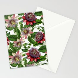 Vintage & Shabby Chic- Retro Passiflora Garden Flower Pattern Stationery Cards