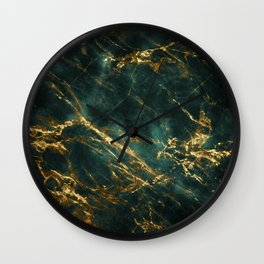 Lavish Velvety Green Marble With Ornate Gold Veins Wall Clock