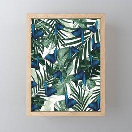Tropical Butterfly Jungle Leaves Pattern #1 #tropical #decor #art #society6 Framed Mini Art Print