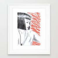 mia wallace Framed Art Prints featuring Mia Wallace by Natália Damião