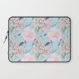 Bluebirds and Watercolor roses on pale blue with white French script Laptop Sleeve