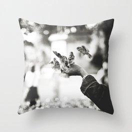 The man of birds Throw Pillow