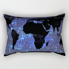 World Map : Blue Galaxy Stars Rectangular Pillow