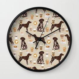 German Shorthair Pointer dog breed custom pet portrait coffee lover pet friendly gifts Wall Clock
