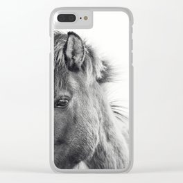 Horse Print | Modern and Black and White Clear iPhone Case