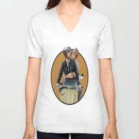 vespa V-neck T-shirts featuring Vespa by _JECR_