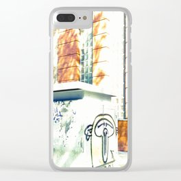 Graffiti triste y sombras rojas Clear iPhone Case
