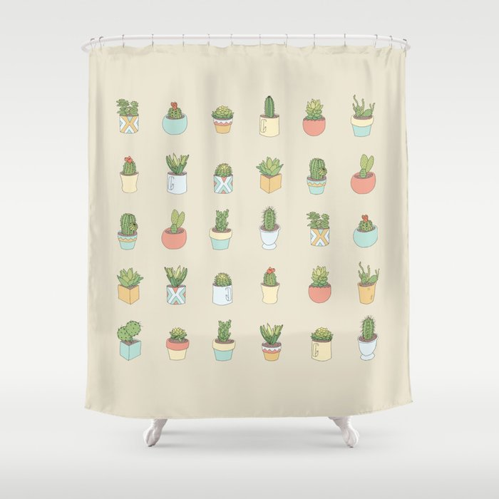 Cute Succulents Shower Curtain