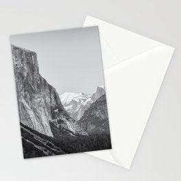 El Capitan, Half Dome and Sentinel Rock from Tunnel View bw Stationery Cards