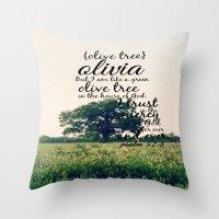 charmaine olivia Throw Pillows featuring Olivia by KimberosePhotography