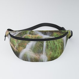 Grassy Waterfall With Tree Trunk Fanny Pack