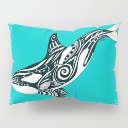 Orca Killer Whale Teal Tribal Tattoo Pillow Sham