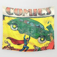superman Wall Tapestries featuring Superman Nº1 by Fernando Vieira