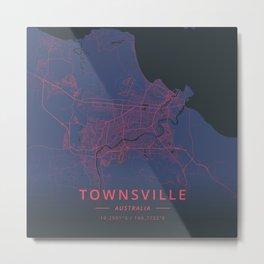 Townsville, Australia - Neon Metal Print