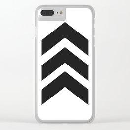 Black & White Three Bold Chevrons Arrow Minimalist Clear iPhone Case