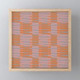 Contemporary Retro Abstract Fibres Pink Orange & Grey Pattern Framed Mini Art Print