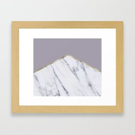Smokey lilac - gold geometric marble Framed Art Print