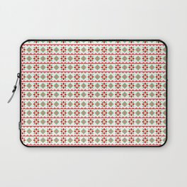 Red And Green Snowflake Christmas Pattern Laptop Sleeve