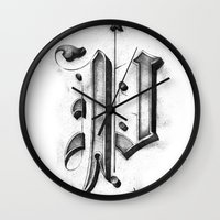 pi Wall Clocks featuring Pi by Resistenza