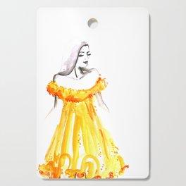 Fashion illustration yellow off shoulder dress Cutting Board
