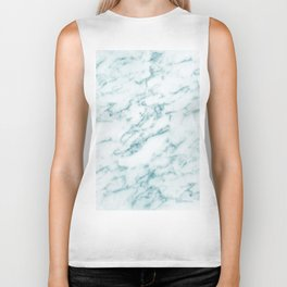Ribbons of Aqua and White Marble Biker Tank