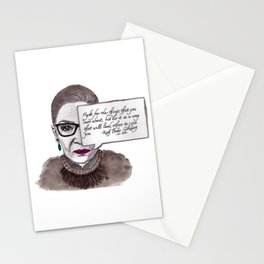 "RBG: ""Fight..."" watercolor portrait quote Stationery Cards"
