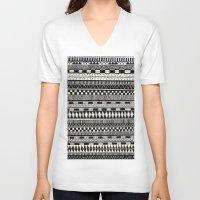 black white V-neck T-shirts featuring black//white by Eliza L