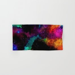 Rainbows and dark outer space in abstract by Jeanpaul Ferro Hand & Bath Towel