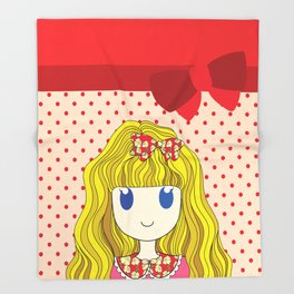 Little Girl with Ribbon Throw Blanket
