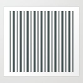 PPG Night Watch Pewter Green & White Wide & Narrow Vertical Lines Stripe Pattern Art Print