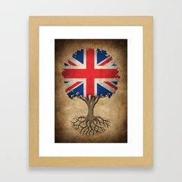 Vintage Tree of Life with Union Jack Flag of United Kingdom Framed Art Print