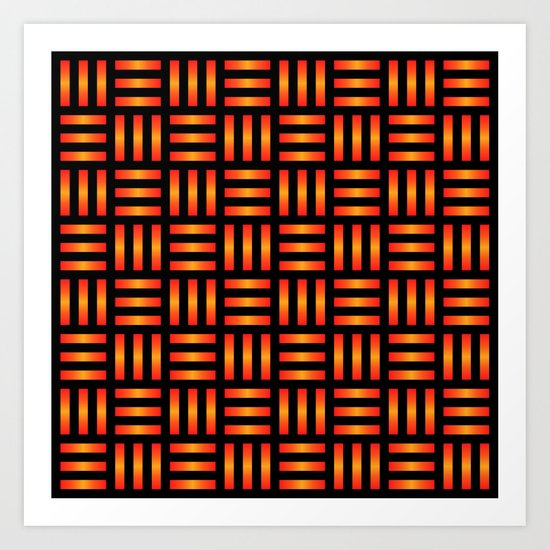 Basket Weave, Red/Orange Art Print