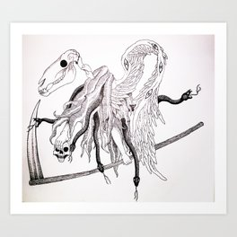 """""""Reaper Steed Of Serpents"""" (black and white) Art Print"""